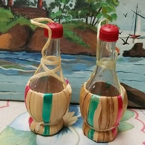 Salt and Pepper Shakers Small Wine Bottle  Made in
